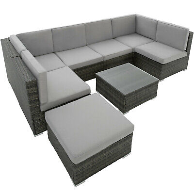 Garden Furniture - Poly Rattan Garden Furniture Lounge Set 7 Seater Table Wicker Patio Balcony grey