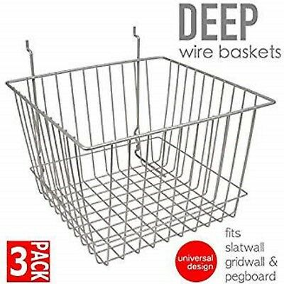 Only Hangers Deep Wire Baskets For Gridwall Slatwall And Pegboard- Chrome 3pk