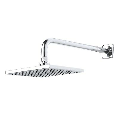 Rainfall Showerhead Finish - Bathroom Rainfall Single Setting Shower Head Arm Flange Chrome Finish