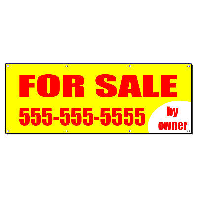 For Sale By Owner Real Estate Custom Phone Banner Sign 4 Ft X 2 Ft  W 4 Grommets