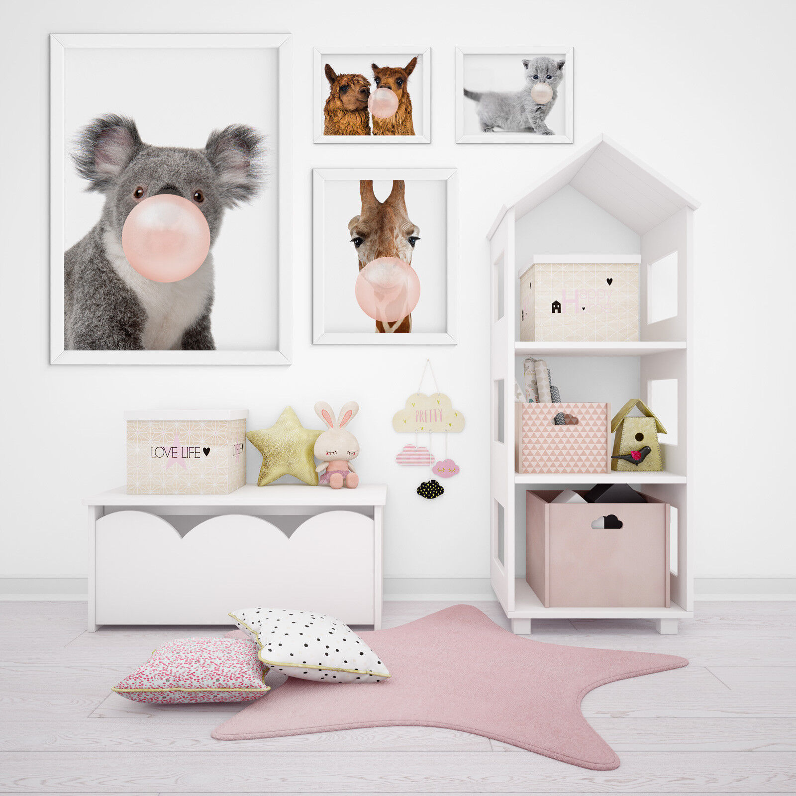 designbomb® Lustige Tiere mit Kaugummi Baby & Kinderzimmer Poster / Plakate