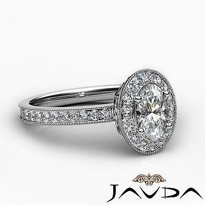 Bezel Set Milgrain Edge Halo Oval Diamond Engagement GIA F VS1 Clarity Ring 1Ct 2