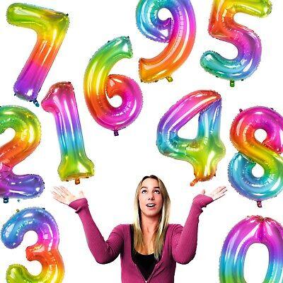 XXL REGENBOGEN FOLIENBALLONS - Zahlen 86cm Geburtstag Party - Dekorationen Party