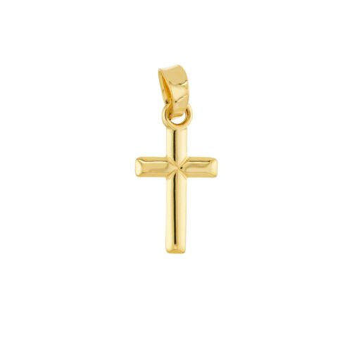 Small Cross with Bevel Edge Necklace Pendant 14K Yellow Gold