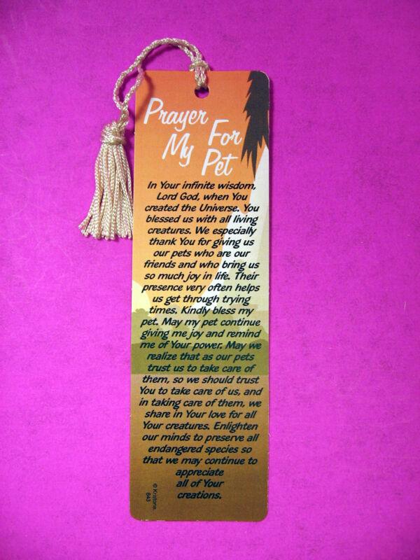 """Prayer For My Pet""  Poem on a Tassel Bookmark (natural tassel)-Sku# 843"