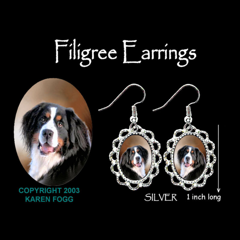 BERNESE MOUNTAIN DOG  SILVER  FILIGREE EARRINGS Jewelry