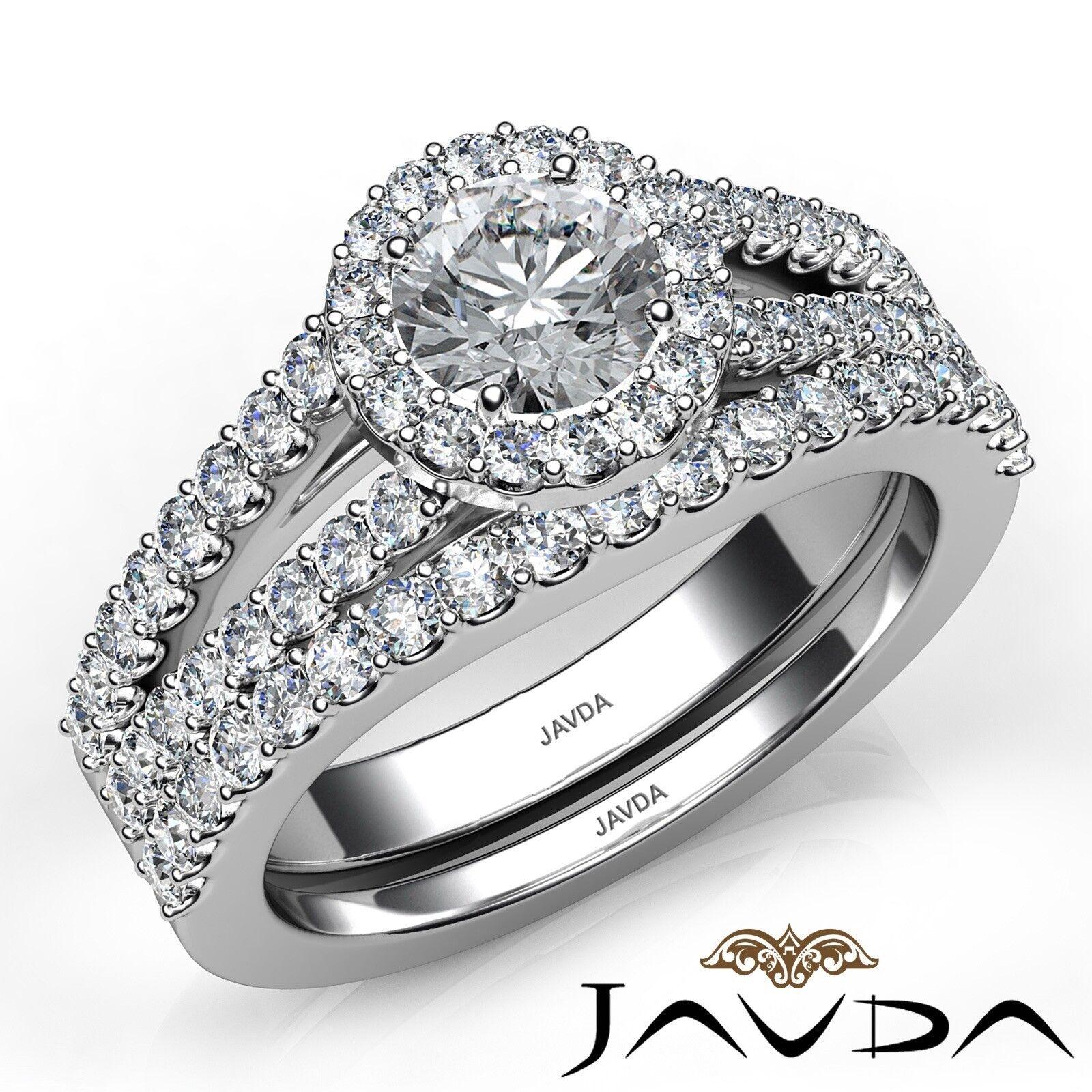 1.85ctw Luxurious Wedding Bridal Round Diamond Engagement Ring GIA G-VVS1 W Gold 1