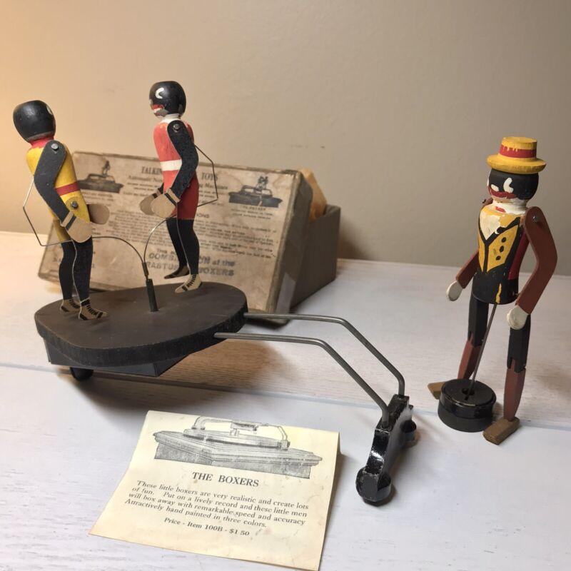 1916 Antique Ragtime Rastus  Dancing Machine Toy + Boxers in Box, National Co