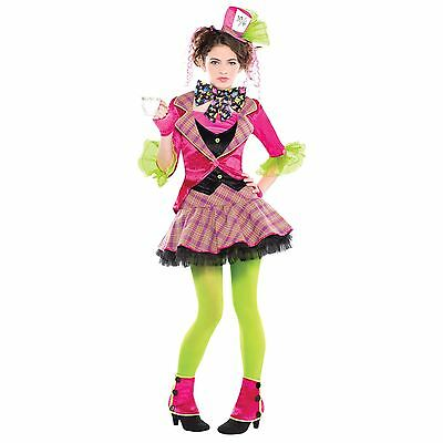 Girls Teen Mad Hatter Fairytale Story Book Fancy Dress Costume + Tights Spat Hat