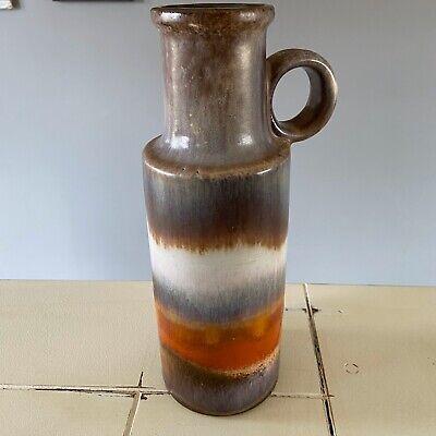 W.Germany 401-28 Abstract Mid Century Modern Brown Orange Pottery Ceramic Vase