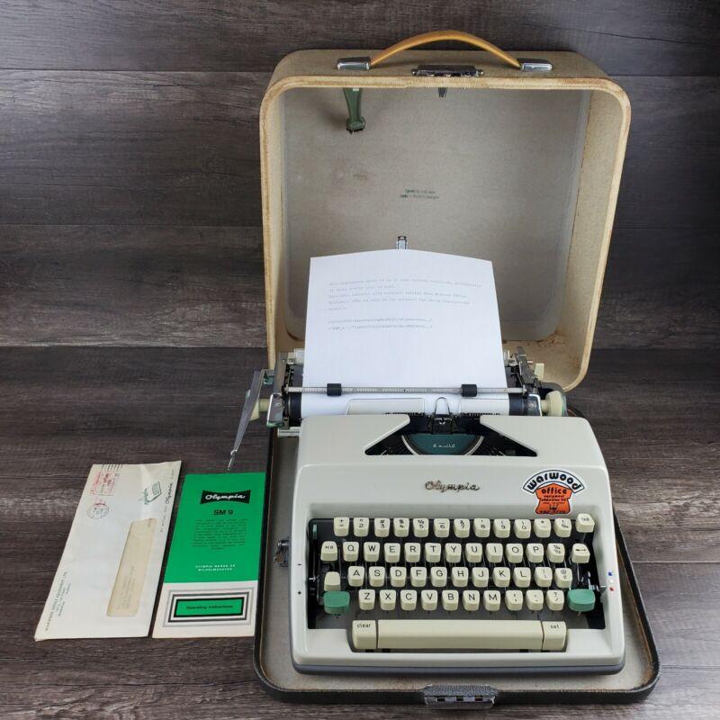 Antique 1965 Olympia SM9 DeLuxe Vintage Typewriter