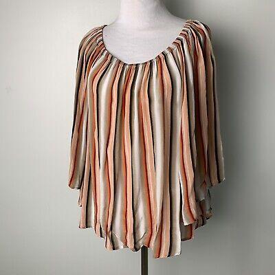 HOTEL PARTICULIER Blouse Striped Vertical Off The Shoulder Summer Orange Womens