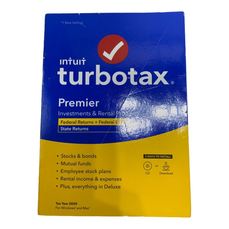 INTUIT TURBOTAX PREMIER Investments Rental Property 2020 FEDERAL STATE CD E-FILE