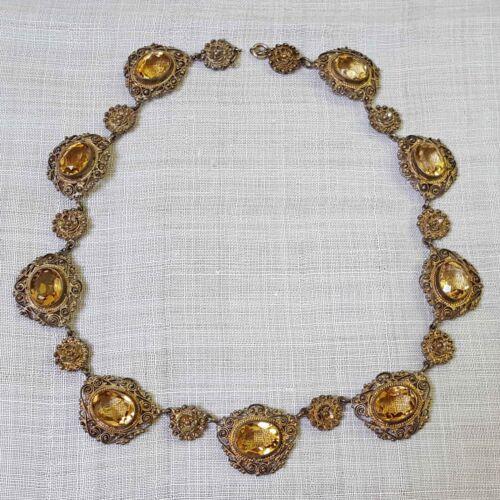 VINTAGE SPANISH NECKLACE OR CHOKER TOPAZ GOLD WASHED SILVER FILIGREE c. 1920s