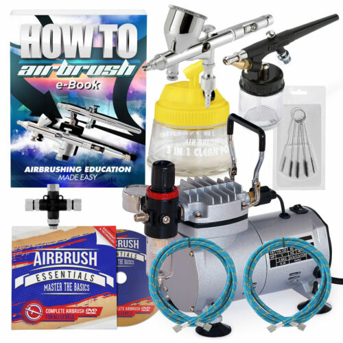 Dual Action Airbrush Kit with 2 Guns New