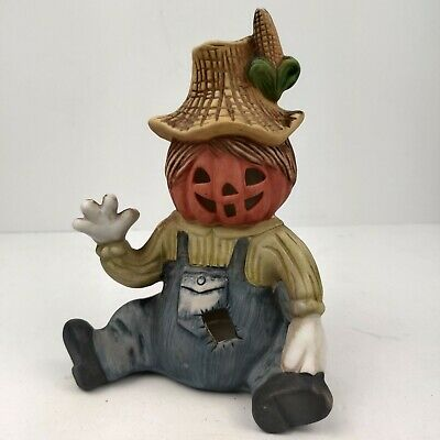 Vintage 1985 Halloween scarecrow pumpkin Ceramic Tealight Candle WNS old stock