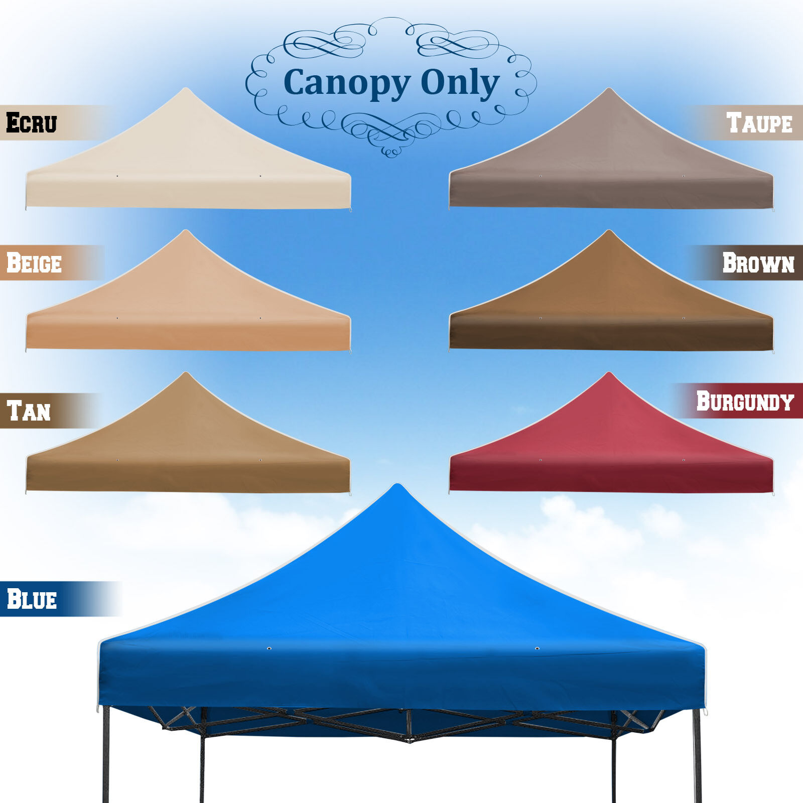 New 10'x10' Ez POP UP Tent Replacement Canopy Instant Gazebo