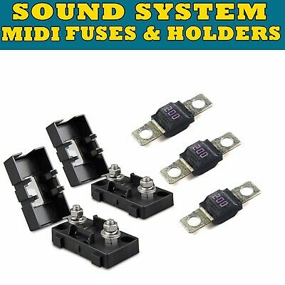 MIDI FUSE KIT 2x HOLDERS 3x 200A AMP FUSES DUAL BATTERY BATTERIES SOUND SYSTEM 200a Fuse Kit