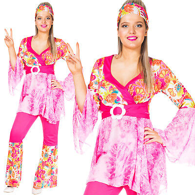 Womens Adult Hippie 60s 70s Hippy Flared Power Flares Fancy Dress Costume Outfit](Hipster Costume)