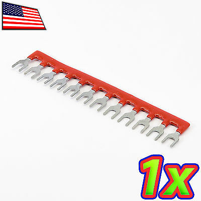 1x 12 Postions Insulated Terminal Block Jumper Shunt Strip Red 400v 10a