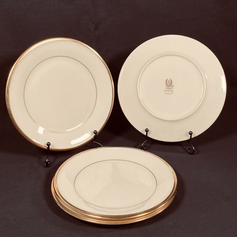 4 Lenox ETERNAL Bread and Butter Plates 24 Kt Gold Rim Excellent Condition