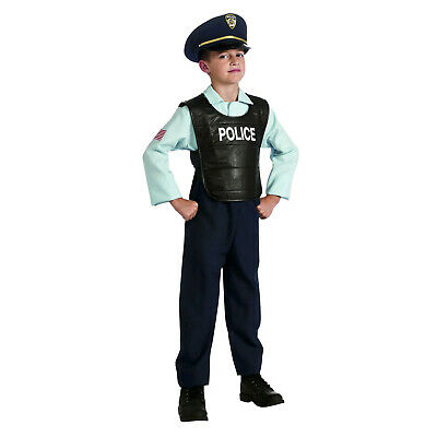 Kids Boy's Deluxe Policeman Officer Cop Uniform Halloween Cosplay Costume M L - Policeman Costume Kids
