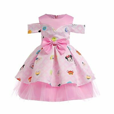 Childrens Girls Off-Shoulder Movie Characters Joy Tigger Bambi Mickey Dress O107](Kids Movie Characters)