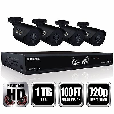 Night Owl 8 Channel 4 HD 720p N. Vision Cameras w/ 1TB HDD DVR Security System
