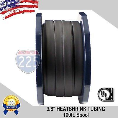 """3/8"""" Inch 100 FT. 100' Feet BLACK 9mm Polyolefin 2:1 Heat Shrink Tubing Tube UL"""
