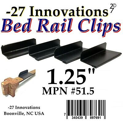 4 CLIPS Antique Flat Top Rail Iron Bed-Box Spring/Mattress CONVERSION KIT 1.25