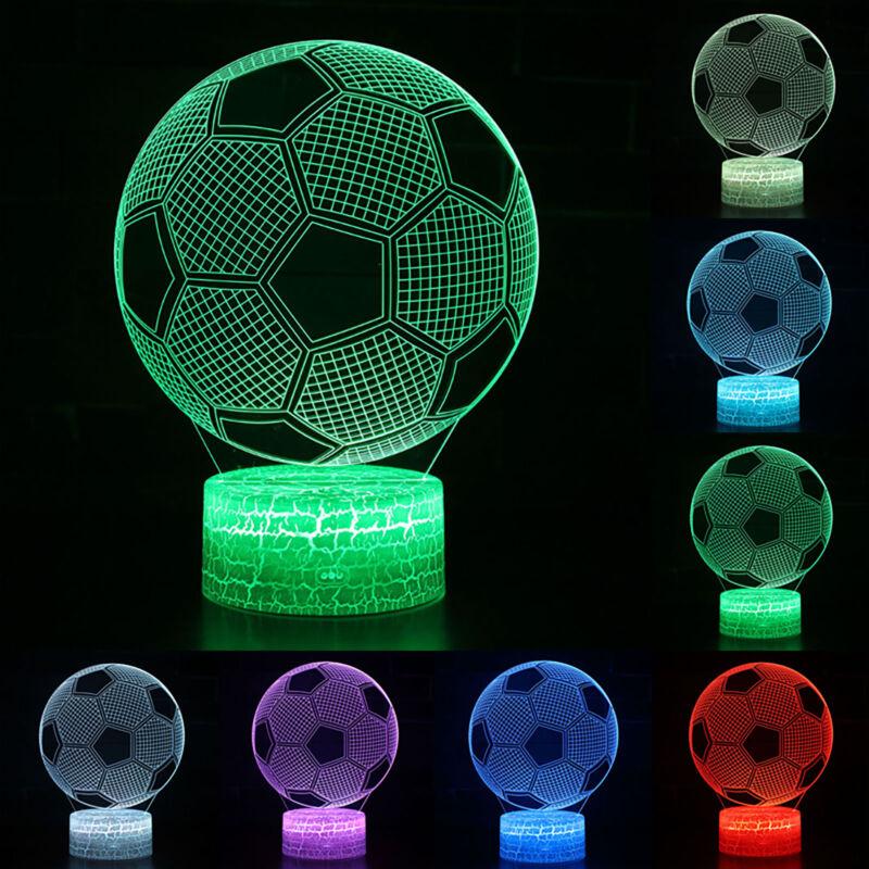 Fußball 3D LED Tischlampe Nachttischlampe Leselampe 7 Farbwechsel Nachtlampe