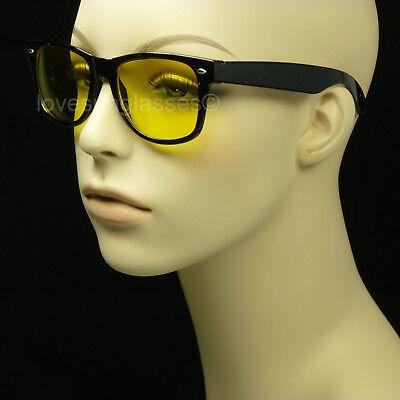 Night driving glasses men women sunglasses vision yellow lens vintage hd frame (Yellow Sunglasses)