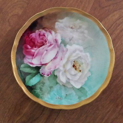 """GINORI FIRENZE WARE 6"""" HAND PAINTED CABINET PLATE ROSES W/GOLD SCALLOPED RIM"""