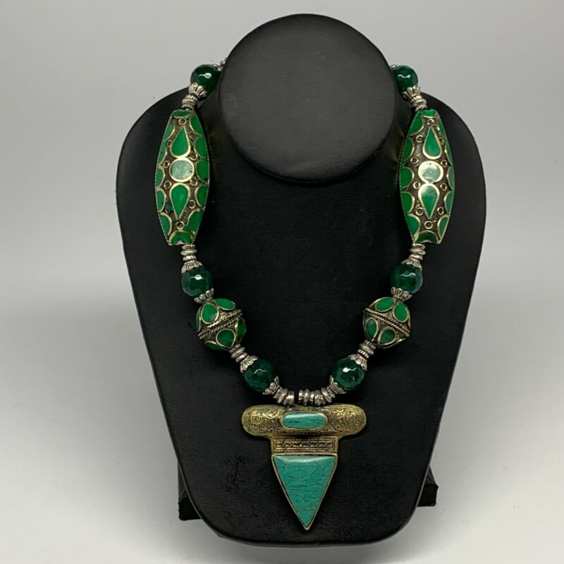 1pc,Turkmen Necklace Afghan Antique Tribal Green Turquoise Inlay Pendant, B14327