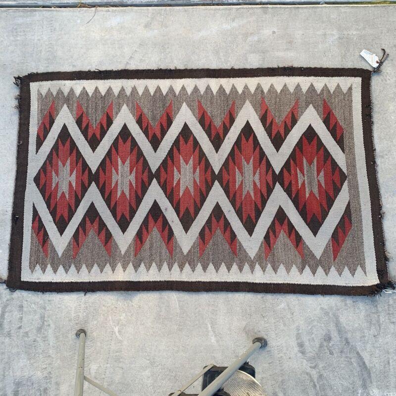 Vintage Navajo Reservation Handwoven Handspun Rug Analine Red 3' x 5'
