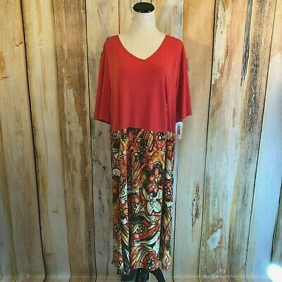 Silvert's Adaptive Clothing Dress Orange Coral Floral Back Snaps 3XL $85 NWT! (Adaptive Open Back Dress)