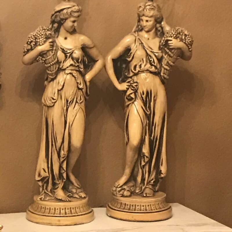 Pair Mid Century Hollywood Regency Tall Figural Lamps Divas Metal 1950s 44""