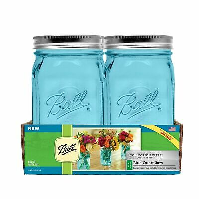 2 Ball Mason Jar 32 oz Canning Wide Mouth Elite Wedding Craft Preserves W/Lid - Canning Jar Crafts
