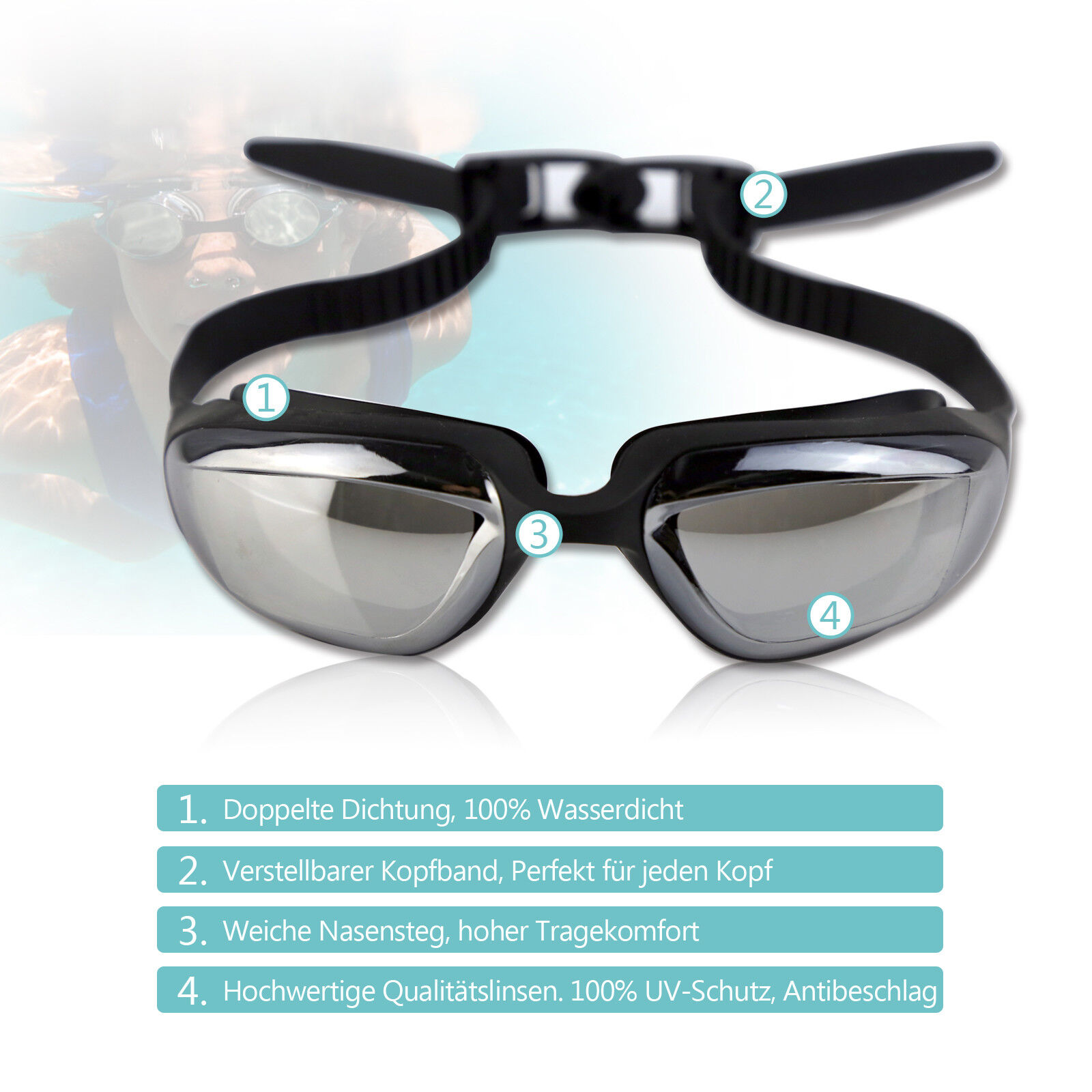 Schwimmbrille Grau Professionelle Verspiegelte Taucherbrille Training Einstellen