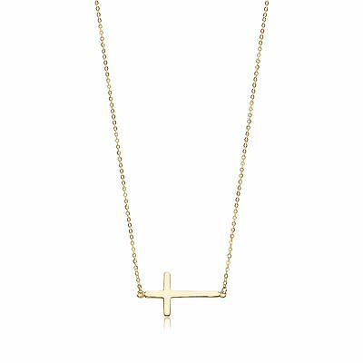 (14K Solid Yellow Gold Sideways Cross Pendant Rolo Chain Necklace Set Charm Women)