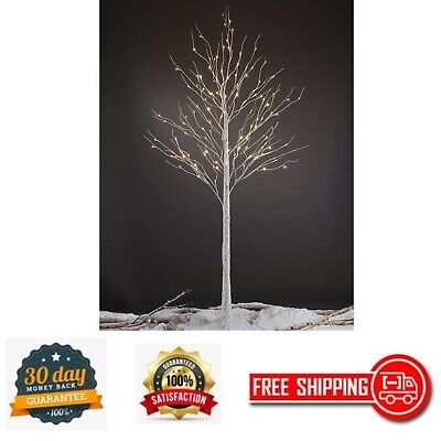 Pre-lit Birch Tree 8 Ft. 132 Warm White LED Light Indoor Outdoor Bendable Branch