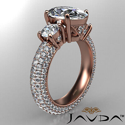 Women's 3 Stone Pave Set Oval Cut Diamond Engagement Ring GIA F Color VS2 3.8Ct 10