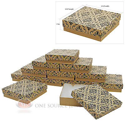 12 Damask Print Cotton Filled Jewelry Gift Boxes 3 12 X 3 12 Bracelet Box