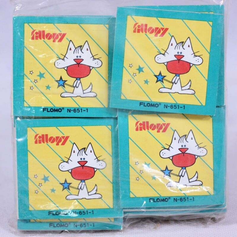 """Rare! Set of 40 """"Fillopy the Cat"""" Multicolored Sticky Notes by Flomo (Japan)"""