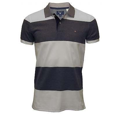Gant Bar Stripe Oxford Men's Pique Polo Shirt, Navy/White ()