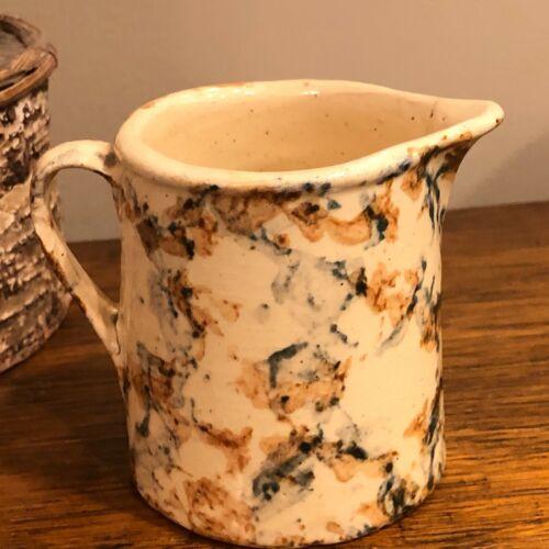 Antique Spongeware Pottery Creamer