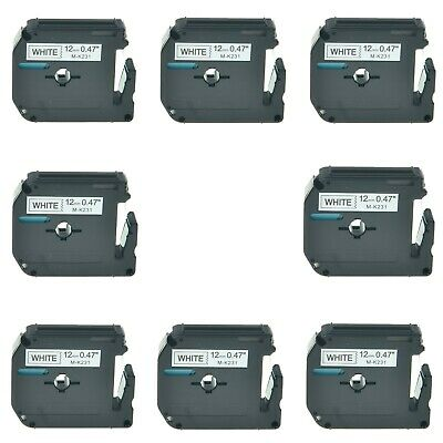 8pk Black On White Label Tape Mk231 12 For Brother P-touch Pt-65 70 85 90 12mm