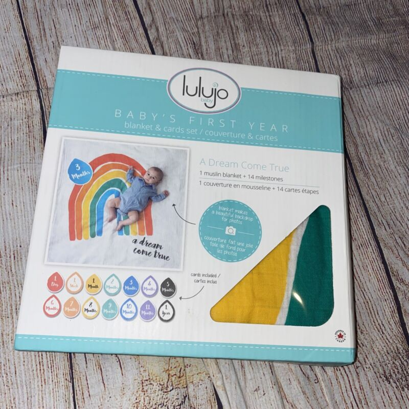 Rainbow Baby Monthly Months Milestone Blanket Lulujo Photos Dream Come True NEW