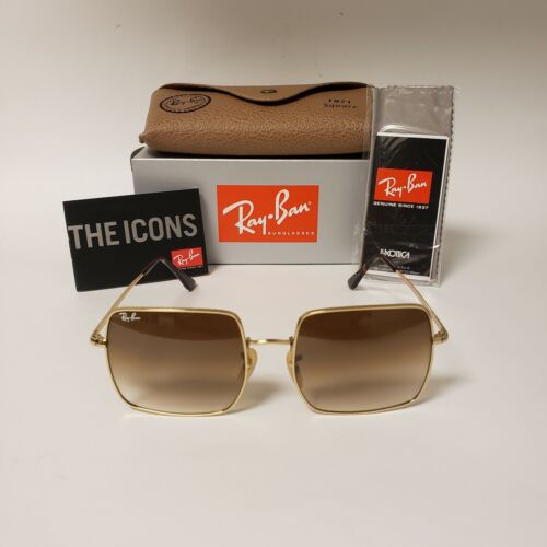 Ray-Ban Square Sunglasses RB1971 Gold Metal Frame  Brown Gradient Lens