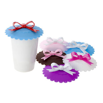 Cup Lids (6x Lot Aspire Bow Cup Lids Silicone Mug Cover Drinking Lids For Coffee Mug)